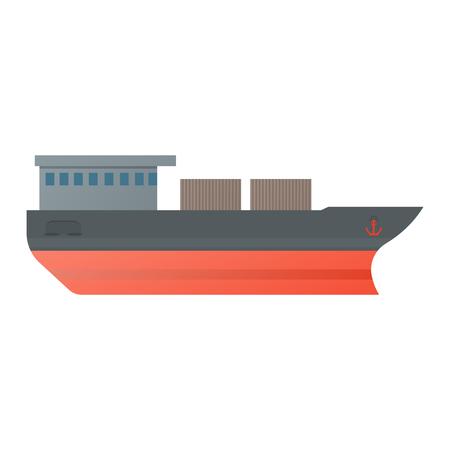 Vector illustration oil tanker, flat design. Illustration