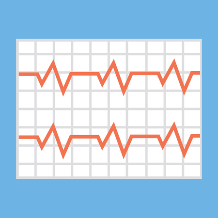 heart beats: Illustration of a heart cardiogram wave on a piece of paper. icon, vector illustration in flat style Illustration