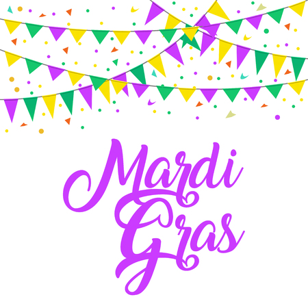Carnival flags mardi gras with beautiful lettering. Illustration