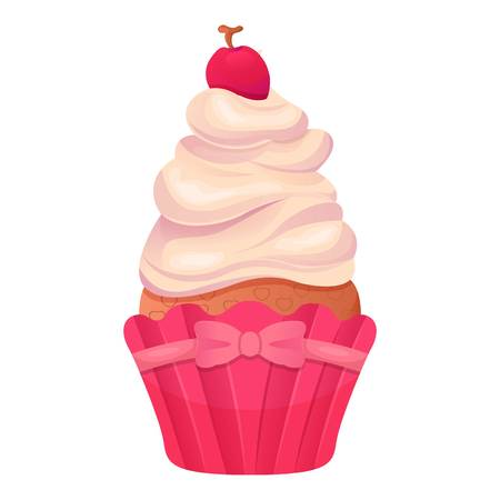 Cup cake icon, cartoon style