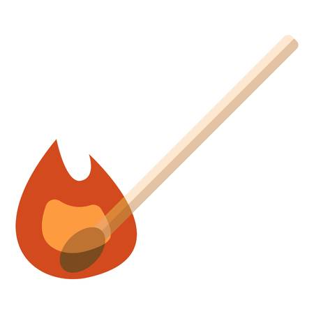 Burning match icon. Flat illustration of burning match vector icon for web Çizim