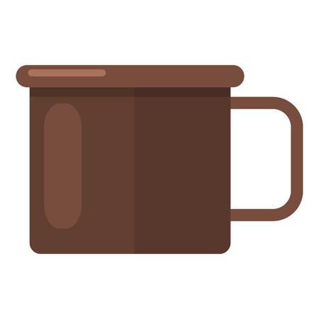 Enamel mug icon. Flat illustration of enamel mug vector icon for web