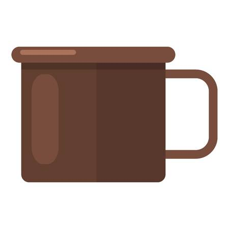 Enamel mug icon. Flat illustration of enamel mug vector icon for web