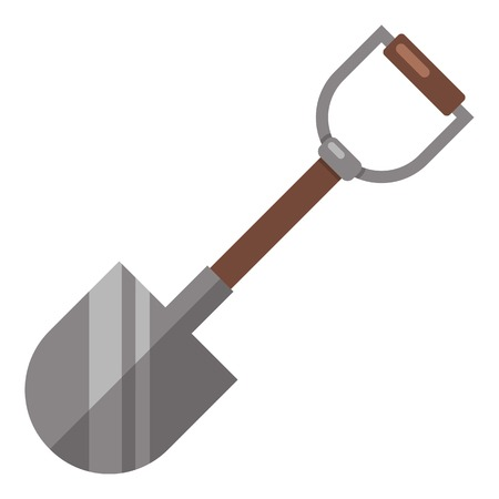 Shovel icon. Flat illustration of shovel vector icon for web Çizim