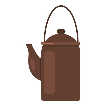 Camp teapot icon. Flat illustration of camp teapot vector icon for web Çizim