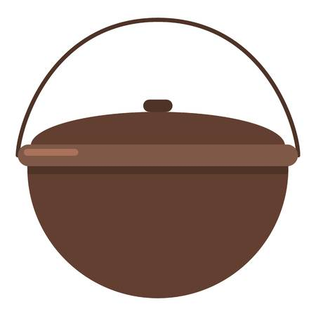 Camping pot icon, flat style