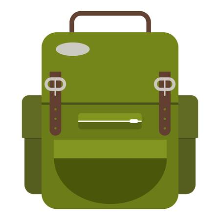 Travel backpack icon. Flat illustration of travel backpack icon for web Çizim
