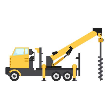 Truck drilling icon, flat style