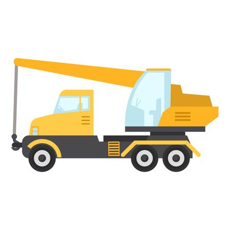 Crane truck icon, flat style