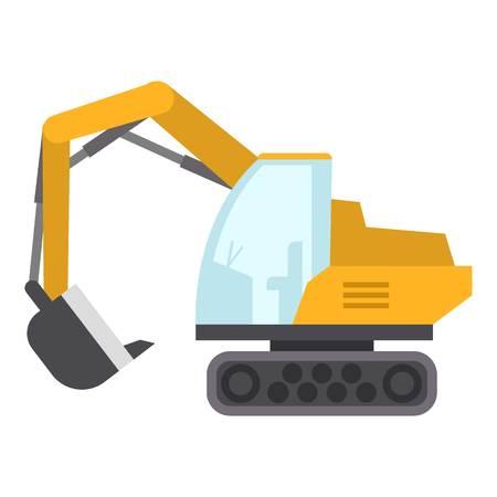 Excavator icon, flat style