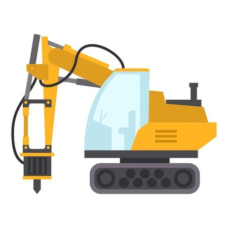 Excavator hammer icon, flat style  イラスト・ベクター素材