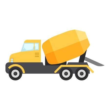 Concrete mixer truck icon, flat style Ilustração