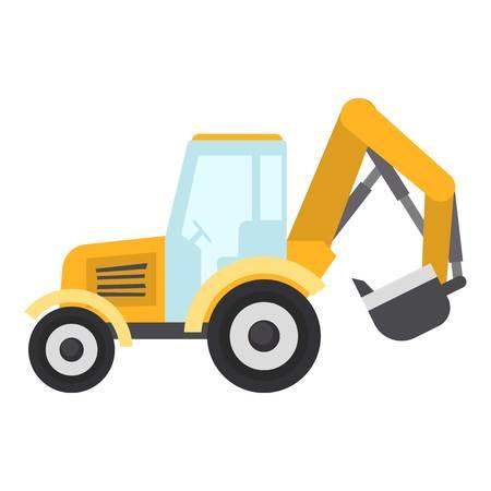 Tractor bucket icon, flat style