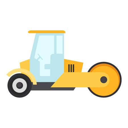 Road roller icon, flat style isolated on white background Illustration