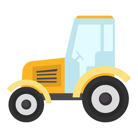 Tractor icon, flat style isolated on white background Stock Illustratie