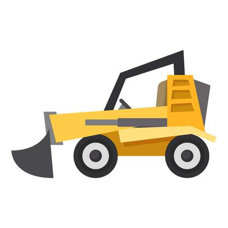 Bulldozer icon, flat style isolated on white background
