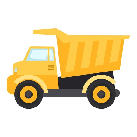 Construction truck icon, flat style isolated on white background