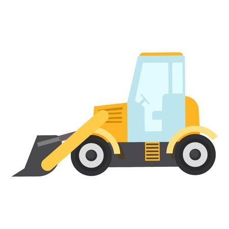 Bulldozer icon, flat style isolated on white background