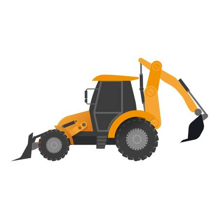 Tractor bucket icon, flat style vector illustration isolated on white background.