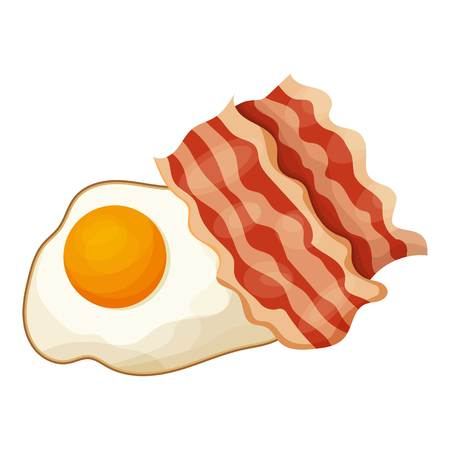Bacon and egg icon, cartoon style vector illustration