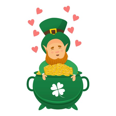 Leprechaun icon, cartoon style vector illustration Çizim