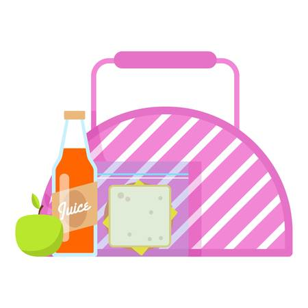 Lunch box icon, flat style. Illustration