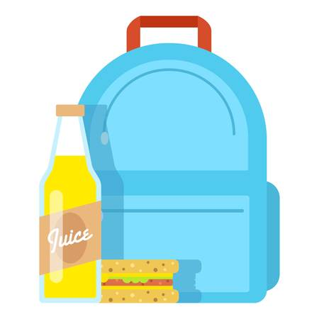Lunch box school icon, flat style. Illustration