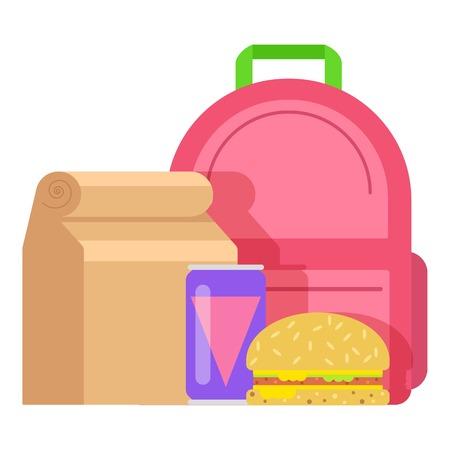 Lunch box kid icon, flat style. Stock Illustratie