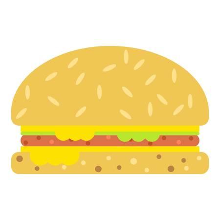 Burger icon, flat style. Ilustração