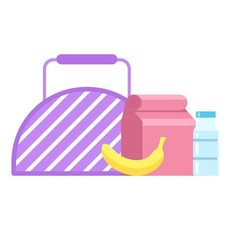 Lunch box icon, flat style. Stock Illustratie