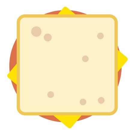 Sandwich top icon, flat style. Stock Illustratie