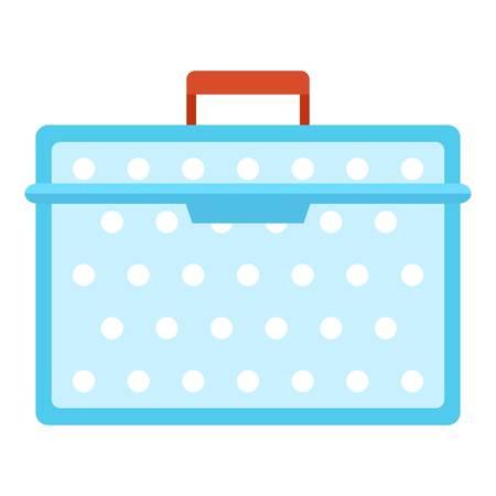 Lunch box plastic icon, flat style Stock Illustratie