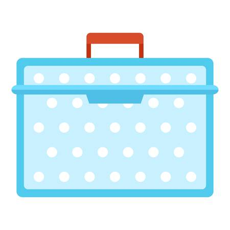 Lunch box plastic icon, flat style Illustration