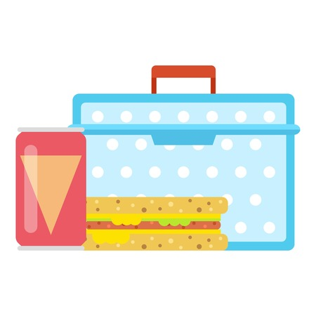 Lunch box concept icon, flat style. Çizim