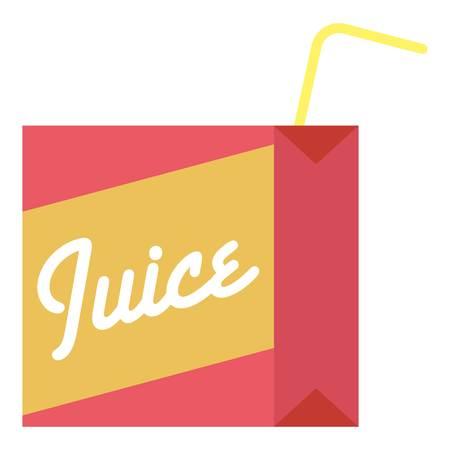 Juice box icon, flat style. Stock Illustratie