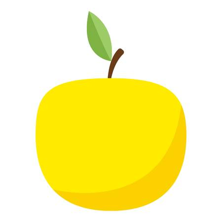 Yellow apple icon, flat style Vector illustration. Çizim