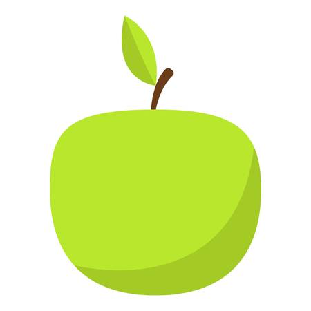 Green apple icon, flat style illustration.