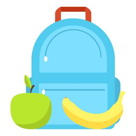 Backpack and lunch icon, flat style Stock Illustratie