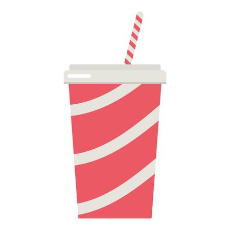 Soda cup icon, flat style Vector illustration.
