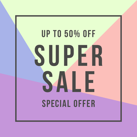 Super Sale offer super sale, flat style illustration.