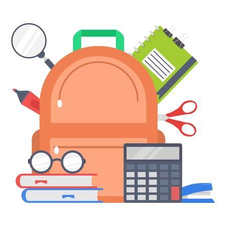 Supplies school design, flat style Stock Illustratie