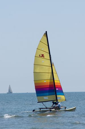 hobie: Hobie catamaran sailboat with two people