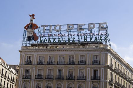 to pepe: Tio Pepe sign Puerta del Sol Madrid Spain Stock Photo