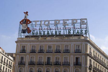 Tio Pepe sign Puerta del Sol Madrid Spain Banco de Imagens
