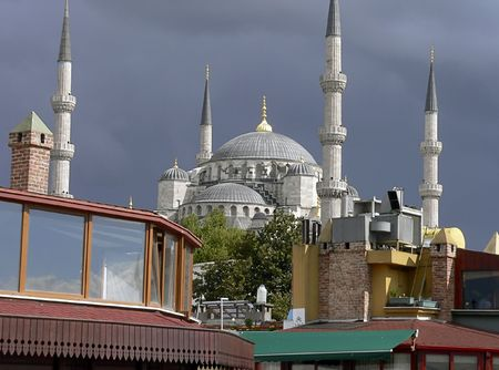 Beautiful colors at the sulthanmet camii in istanbul photo