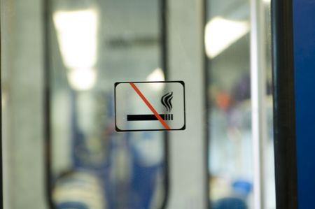 No  smoking sign in a train Stock Photo - 491414