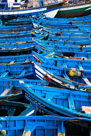Fishing boats in harbour Essaouira north Atlantic Morocco North Africa