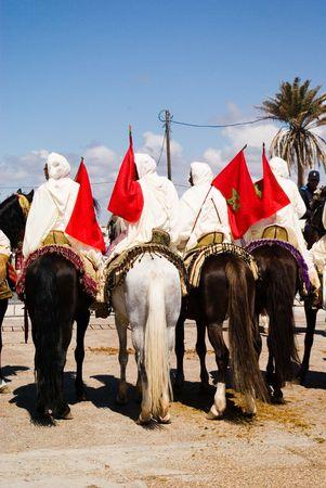 berber: Parade of berber man on horse in Morocco Stock Photo