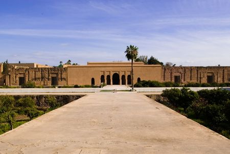 incomparable: Morocco Marrakech The El Badi Palace built in 16C by Sultan Ahmed el Mansour Its name means Incomparable It is made of pise clay Stock Photo