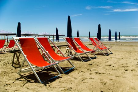 A view of Tuscanian beautiful beach of Lido di camaiore, Versilia.